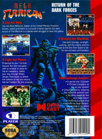 mega turrican genesis box art back cover
